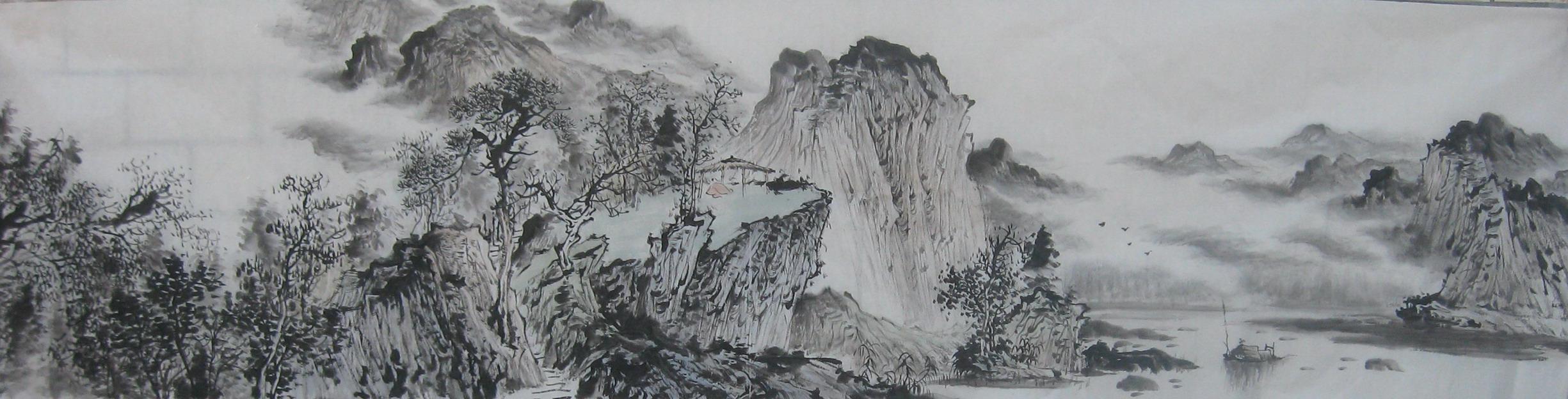 名家 潘真 國畫 - 潘真 八尺對開山水 源遠流長 6000.00