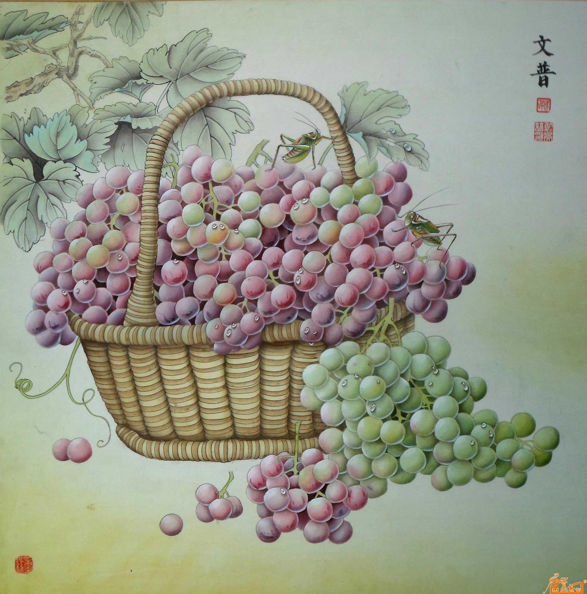 葡萄蝈蝈-於文普-淘宝-名人字画-中国书画服务中心,,.